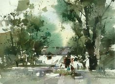 """Chien Chung-Wei, The Pearl Sea """"total"""" model of sketching. (actually not finished Watercolor Trees, Watercolor Artists, Watercolor Landscape, Watercolor And Ink, Watercolour Painting, Watercolours, Landscape Drawings, Landscape Art, Landscape Paintings"""
