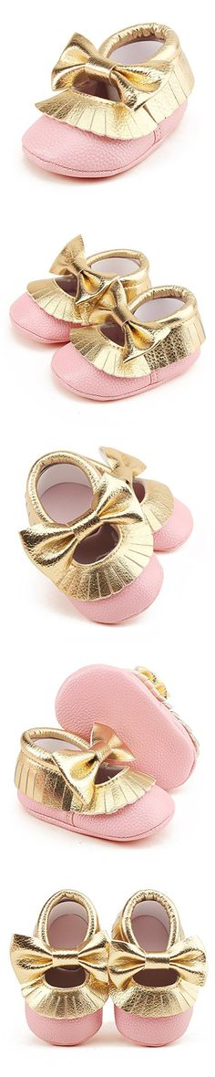 Delebao Infant Toddler Baby Soft Sole Tassel Bowknot Moccasinss Crib Shoes (0-6 Months, Pink & Gold)