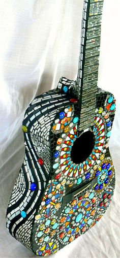Jimi Electric Accoustic Stained Glass Mosaic by dannimacstudios, $1200.00