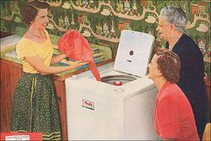 This is an ad for Maytag washers. The young woman makes me think of Queen Elizabeth ... somehow QEII doing laundry and demonstrating it to the Queen Mother ... it amuses me. It was really the wallpaper that caught my eye. I think it's really cool. Source: Better Homes & Gardens
