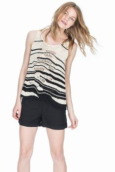 Leo and Sage - Striped Pointelle Tank