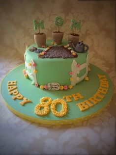 Garden themed ladies 80th birthday cake - rachels enchanting creations