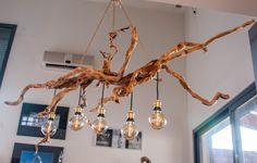 original lustre en bois flottés