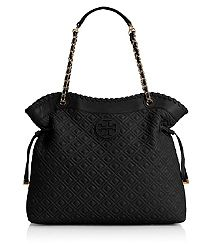 MARION QUILTED SLOUCHY TOTE / ok am not a big fan of the TB logo, but this purse is pretty