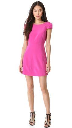 tibi cap sleeve backless dress
