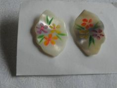 Vintage Handpainted Floral Earrings