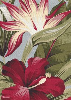 Puahi - Barkcloth Hawaii - Timeless Hawaiian Fabrics For your Home & Body Tropical Botanical Vintage Hawaiian Fabric Hawaiian Floral Print on a cotton upholstery twill fabric.