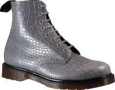 Dr. Martens Pascal 8 Eye Boot Croco - Grey Croco - Free Shipping & Return Shipping - Shoebuy.com