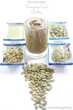Homemade pumpkin seed butter that is creamy, nut free and free of the top 8 food allergens. A food allergy must make substitute for peanut butter.