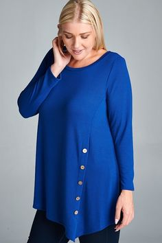 e80538583fd Kelly Brett Boutique - Plus Size Button Top Royal