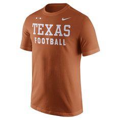Men's Nike Texas Longhorns Football Facility Tee, Size: Medium, Drk Orange