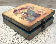 Corazón caja de decoupage caja de la boda caja por CarmenHandCrafts