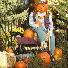 Pumpkin Patch Scarecrow  I will use a variation of this at my garden stand!