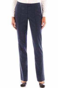 WORTHINGTON MODERN FIT NAVY HERRINGBONE  PINTUCK TROUSER - SIZE 8 TALL #Worthington #DressPants
