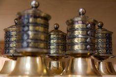 Prayer wheels with traditional mantras to spread blessings in the world. From Nepal in Lotus Design winkel