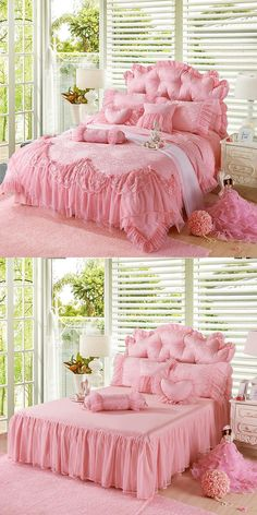 Pink Jacquard Silk Princess Style bedding set 4pcs silk Lace Ruffles duvet cover bedspread bed skirt bedclothes king queen size