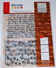 Motivstempel Clear-Stamps Stempel von Artemio Hintergrund Schrift Noten 1048