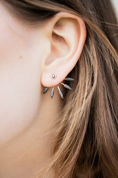Pamela Love Fine - Black Diamond 5 Spike Earrings | BONA DRAG