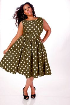 JIBRI Plus Size Sleeveless Spring Dress (Olive) via Etsy