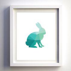 Teal Bunny Rabbit geometirc art print printable by FancyDigitals Art Wall Kids, Diy Wall Art, Art For Kids, Rabbit Art, Bunny Rabbit, Picture Frame Clock, Deer Cartoon, Minimalist Nursery, Printable Animals