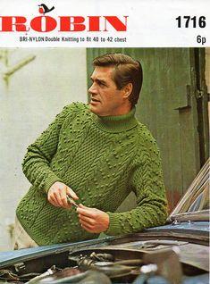 Mens Aran Sweater Mens Knitting Pattern PDF Download mens Aran Jumper Polo Neck…                                                                                                                                                     More