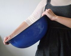 Cobalt blue enamelware basin, and a BIG one