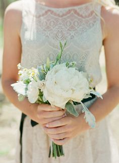 love this small silver and white bridesmaid bouquet
