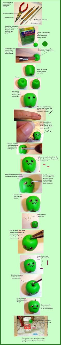 Cute polymer clay apple charm.