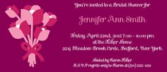 Wedding Bouquet Bridal Shower Invitation. Change The colors to match wedding colors.