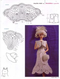 gráficos de vestido, bolero e chapéu de crochê para Barbie