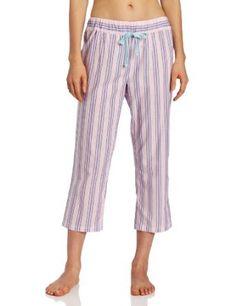 Nautica Sleepwear Women's Woven Stripe Capri, Coral Cove Pink, Large Nautica. $27.00