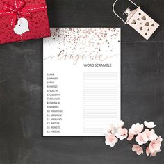 Bachelorette Party Games Rose Gold Confetti Bachelorette Lingerie Scramble Game Lingerie Shower Printable Rose Gold Bridal Shower Games PDF • Lingerie Game 5 x 7 ************ We can make many other party materials, signs and decorations in same style, just contact us. HOW TO ORDER: