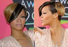 This cool cross between a bob and a pixie is an old but gold hairdo among the hundreds if not thousands of hairstyles sporting by the Barbadian pop queen. Caramel at the back leaving a small cool black streak on the fringe and undertone to her mane this hairstyle is sleek sexy and very stylish.