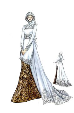 Sketch of Modern Kebaya with Batik Muslim Wedding Gown, Muslimah Wedding Dress, Dress Wedding, Wedding Dress Illustrations, Fashion Illustration Dresses, Kebaya Muslim, Muslim Dress, Fashion Design Drawings, Fashion Sketches