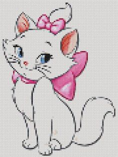 Cat Cross Stitches, Counted Cross Stitch Patterns, Cross Stitch Designs, Knitting Charts, Knitting Patterns, Beading Patterns, Hama Beads Patterns, Marie Cat, Counted Cross Stitches
