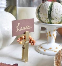 Clothespin name cards add an easy, DIY element to your Thanksgiving table.