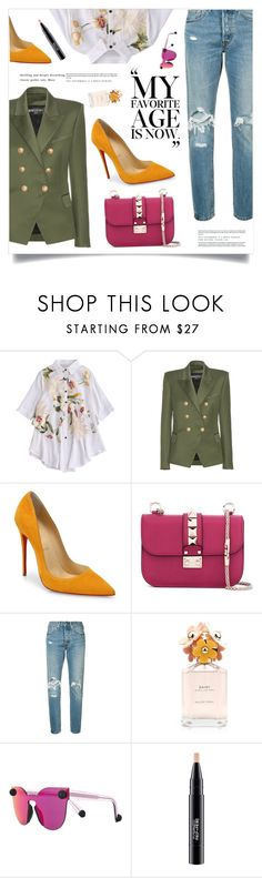 """""""Now"""" by marina-volaric ❤ liked on Polyvore featuring Balmain, Christian Louboutin, Valentino, Levi's, Marc Jacobs, Christopher Kane and MAC Cosmetics"""