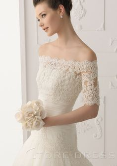 Beautiful Off-the-shoulder Half Sleeve lace Wedding Wrap - Storedress.com