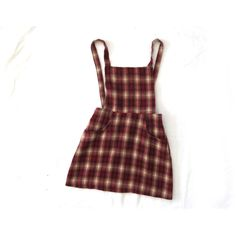 vintage 1990s jumper children girl grunge plaid burgundy pinafore size... ($16) ❤ liked on Polyvore featuring dresses, skirts, overalls and bottoms