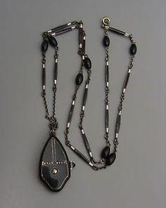 Art Deco Sterling Black Enamel Watch Pendant Necklace Swiss Argent Running Chain | eBay