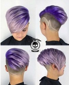 Short-Undercut-Hairstyle-for-Purple-Hair Awesome Undercut Hairstyles for Girls Best Undercut Hairstyles, Short Hair Undercut, Short Pixie Haircuts, Cute Hairstyles For Short Hair, Longer Pixie Haircut, Pixie Hairstyles, Short Hair Cuts, Curly Hair Styles, Shaved Hairstyles