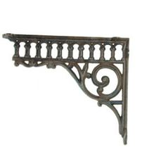 beautiful iron decorative bracket for making shelves, or a plant hanger. Wood Shelf Brackets, Decorative Shelf Brackets, Metal Shelves, Decorating Blogs, Interior Decorating, Wrought Iron Trellis, Making Shelves, Antebellum Homes, Wall Mounted Sink