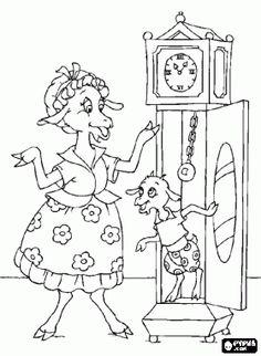 Pintar La mare cabra arriba a casa i només troba a la cabreta més petita amagada en el rellotge
