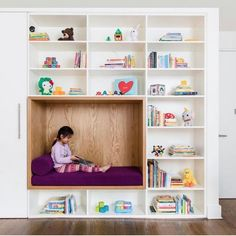 Kids Room Shelves Bookcase Playroom Room Type Bench Toddler Age Storage Dark Hardwood Floor Neutral Gender Bedroom Room Type and Rug Floor Child's bedroom with custom cabinetry and reading nook Photo 3 of 19 in 19 Cozy Nooks That Radiate Charm and Comfort Small Space Interior Design, Kids Room Design, Interior Design Living Room, Kitchen Interior, Playroom Design, Design Kitchen, Room Interior, Modern Interior, Reading Nook Kids