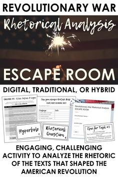 """Teach the rhetoric of the American Revolution with this engaging escape room. Texts include """"Common Sense,"""" Speech at the Virginia Convention / """"Give me liberty or give me death,"""" Declaration of Independence, and American Crisis English Language, Language Arts, Teaching American Literature, Escape Room, School Resources, American Revolution, Teaching Tips, Common Sense, Revolutionaries"""