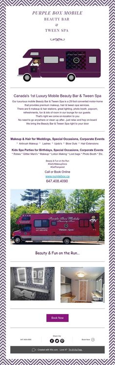 Canada's 1st Luxury Mobile Beauty Bar&Tween Spa Beauty Bar, Beauty Makeup, Hair Stations, Kids Spa, Mobile Beauty, Spa Birthday Parties, Boutique Ideas, Spa Services, Purple Hair