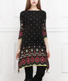 Take a look at this Black & Red Medallion Sidetail Dress on zulily today!