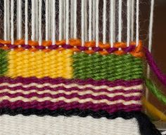 For this post I tackle two techniques in the CraftArtEdu Introduction to Tapestry Class: pick and pick and soumak knots. Pick and Pick Pick and pick is a method you'll hear about a lot. It cr… Tapestry Weaving, Loom Weaving, Wool Wall Hanging, Chevron Patterns, Weaving Projects, Weaving Patterns, Book Crafts, Fiber Art, Tatting