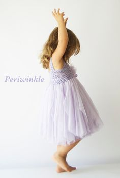 Periwinkle Baby Tulle Dress with Empire Waist and Stretch Crochet Top.Tulle dress  for girls with lacy crochet bodice.