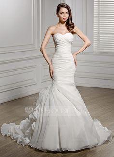 [£ 210.00] Trumpet/Mermaid Sweetheart Chapel Train Organza Wedding Dress With Ruffle (002056468)